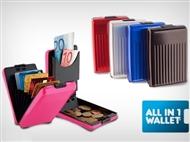 Carteira de Alumínio para guardar Cartões, Notas e Moedas com 5 Cores à escolha.