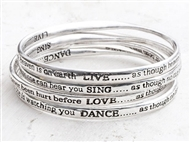 Conjunto Pulseiras Live, Love, Sing and Dance