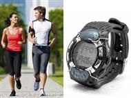 Relógio multifunções com monitor de frequência cardíaca e medidor de calorias queimadas.