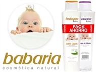 Conjunto para Bebé da BABARIA com Gel Banho Aloe Vera de 600 ml e Água de Colónia de 600 ml.