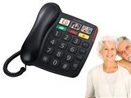 Telefone Fixo para Seniores com 3 memórias para emergência, teclas grandes, etc