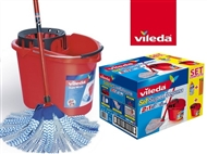 Conjunto de Limpeza do Chão da VILEDA: Balde Espremedor, Recarga Esfregona e Cabo Tripartido.
