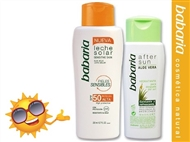 Protetor Solar Loção SPF50 de 200 ml e After Sun Aloe Vera de 150 ml da BABARIA.