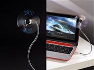 Ventilador USB Flexivel com Termómetro ou Luzes Coloridas para Portátil. PORTES INCLUIDOS.