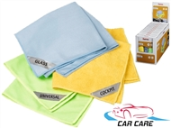 CARRO LIMPO: Conjunto de 3 Panos de Microfibras para Limpeza de Vidros, Interior e Exterior.