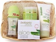 Caixa Aloe Vera com Creme Facial Antirrugas, Creme Nutritivo de Mãos e Desodorizante Roll-on.