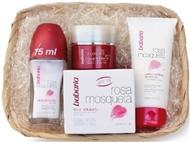 Caixa Rosa Mosqueta com Gel Facial Hidratante, Creme Nutritivo de Mãos e Desodorizante Roll-on.