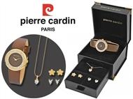 Conjunto Pierre Cardin com Relógio de Pulso, Colar, 4 Brincos e Caixa Brown Stars. PORTES INCLUÍDOS.
