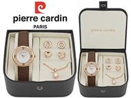 Conjunto Pierre Cardin com Relógio de Pulso, Colar, 4 Brincos e Caixa Golden Pearl. PORTES INCLUÍDOS
