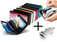 Carteira de Alumínio para os seus Cartões, Notas e Moedas com OFERTA de Carregador USB para Carro