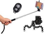 Conjunto de Acessórios para Selfies com Braço Extensível, Comando Bluetooth, Tripé Flexível e Bolsa