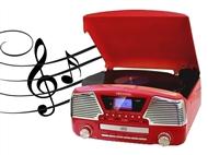 Gira-discos Vintage com Alta-voz, Rádio, Entrada USB e SD, Bluetooth, Comando à distancia!