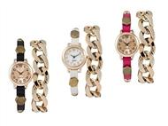 Relógios NEW YORK com Pulseira em Couro e Bracelete em Corrente Dourada. Perfeito para o Dia a Dia!