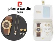 Conjunto Pierre Cardin com Relógio de Pulso, Colar, 4 Brincos e Caixa Golden Stars. PORTES INCLUÍDOS