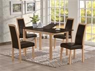 Mesa de Refeições Extensível Com ou Sem 4 Cadeiras em Castanho e Preto: Um Design Urbano