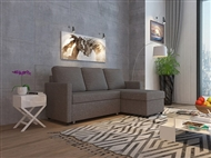 Sofá-Cama com Chaise-Longue com Arrumação em Tecido de Cor Cinza para a sua Sala