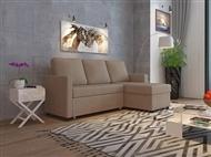 Sofá-Cama com Chaise-Longue com Arrumação em Tecido de Cor Bege para a sua Sala