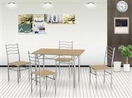 Conjunto de Mesa de Refeições com 4 Cadeiras em Carvalho Claro: Uma Excelente Solução para sua Casa