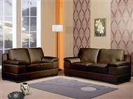 Sofá em Pele Sintética de Cor Castanha com Opção de Escolha de 2 ou 3 Lugares: Perfeito para a Sala