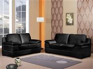 Sofá em Pele Sintética de Cor Preta com Opção de Escolha de 2 ou 3 Lugares: Perfeito para a Sala