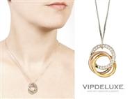 Colar Pingente Elegante Banhado a Ouro de 18K com 3 Pequenos Anéis com CRISTAIS SWAROVSKI