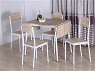Conjunto de Mesa de Refeições Extensível com 4 Cadeiras em Carvalho Claro