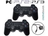 1 ou 2 Comandos Gaming DualShock com Fio para PC e Compatível com as Consolas PS2 e PS3