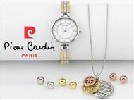 Conjunto Pierre Cardin Versatile Gold Rose Silver com Relógio, Colar e 3 Pares de Brincos.