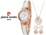 Conjunto Pierre Cardin White Rose com Relógio, Colar e 2 Pares de Brincos.