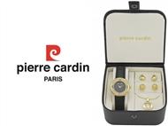 Conjunto Pierre Cardin Black Gold Drops com Relógio, Colar e 2 Pares de Brincos.