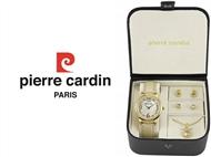 Conjunto Pierre Cardin Golden Heart Circle com Relógio, Colar e 2 Pares de Brincos.