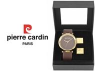 Conjunto Pierre Cardin Classic Brown Gold com Relógio e 2 Botões de Punho.
