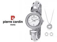 Conjunto Pierre Cardin Classic Charm Silver com Relógio, Brincos e Colar.