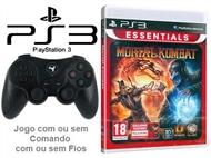 PS3: Jogo MORTAL KOMBAT 9 ESSENTIALS com ou sem Comando com ou sem Fios.