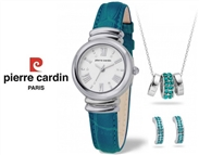 Conjunto Pierre Cardin Pearl Blue com Relógio, Colar e Par de Brincos.