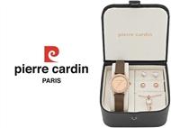 Conjunto Pierre Cardin PCX4381L193 com Relógio, Colar e 2 Pares de Brincos.