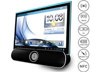 Coluna Portátil Bluetooth de 5Wx2 com Suporte para Tablets ou Smartphones, Mãos-livres e USB