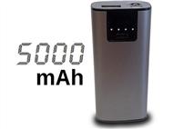 Power Bank 5000 mAh Metálica: Carrega Smartphones ou Tablets por USB com 1 Lanterna Integrada