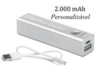 Power Bank 2000 mAh Personalizado com Gravação a Laser: Carrega Smartphones ou Tablets por USB