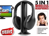 Auricular sem Fios para TV, PC, MAC, Leitor de MP3, CD e DVD. Radio FM Incorporado.