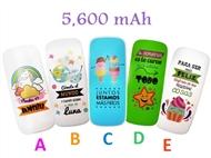 Power Bank 5600 mAh com 5 Opções à Escolha: Carrega 2 Smartphones ou Tablets em Simultâneo por USB