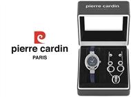 Conjunto Pierre Cardin Cristals Blue com Relógio, Colar e 2 Pares de Brincos.