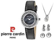 Conjunto Pierre Cardin Blue Pearl com Relógio, Colar e 2 Pares de Brincos.