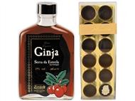 Ginja Serra da Estrela de 200ml com 12 Copos de Chocolate Preto Avianense.
