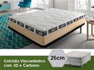 Colchão Viscoelástico Eco 3D Carbono Ativo de Casal ou Solteiro com 26 cm de Altura