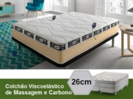 Colchão Viscoelástico Eco 3D Carbono Ativo de Casal ou Solteiro com Motores de Massagens e Comando