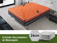 Colchão Viscoelástico Flor de Lavanda 3D Laranja de Casal ou Solteiro com 8 ou 16 Motores de Massage