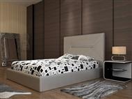 Cama de Casal em Pele Sintética Prata com 3 Tamanhos à Escolha. Um Design Elegante e Confortável