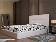 Cama de Casal em Pele Sintética Branco-Rosa com 3 Tamanhos à Escolha. Um Design Elegante e Confortáv