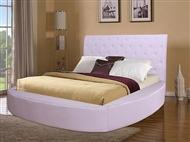 Cama de Casal em Pele Sintética Branco-Rosa  para colchão de 200x180cm. Um design romântico e harmon